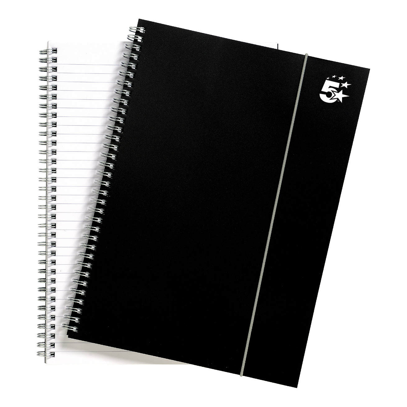 Spiral Note Books 5 Star Office Notebook Wirebound Polypropylene 80gsm Ruled 160pp A4 Black Pack 6
