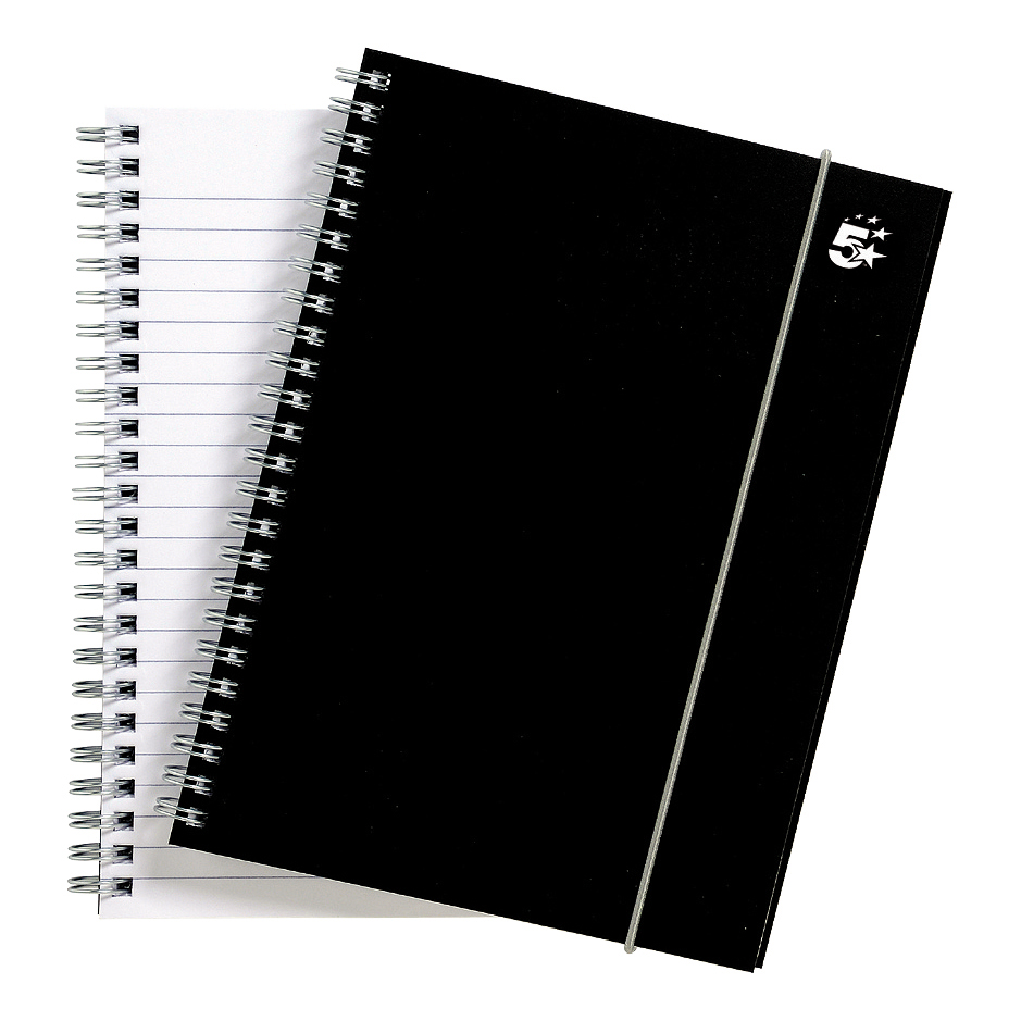 Spiral Note Books 5 Star Office Notebook Wirebound Polypropylene 80gsm Ruled 160pp A5 Black Pack 6