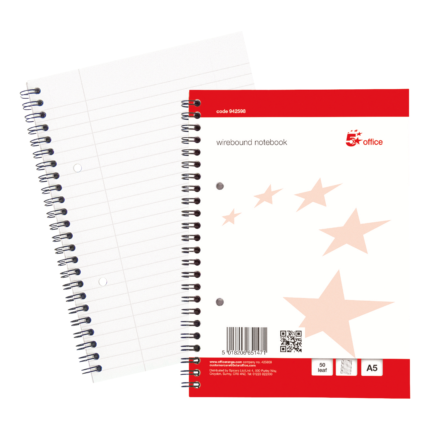 Spiral Note Books 5 Star Office Notebook Wirebound 70gsm Ruled with Margin Perf Punched 2 Holes 100pp A5+ Red Pack 10