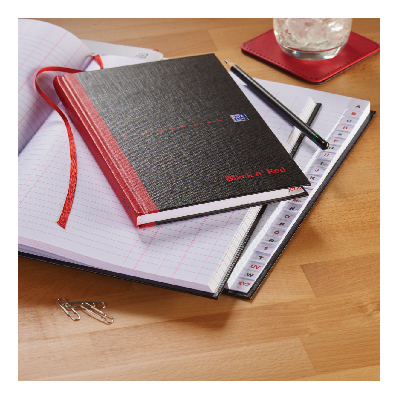 Black n Red Notebook Casebound 90gsm Ruled Indexed A-Z 192pp A4 Ref 100080432 Pack 5