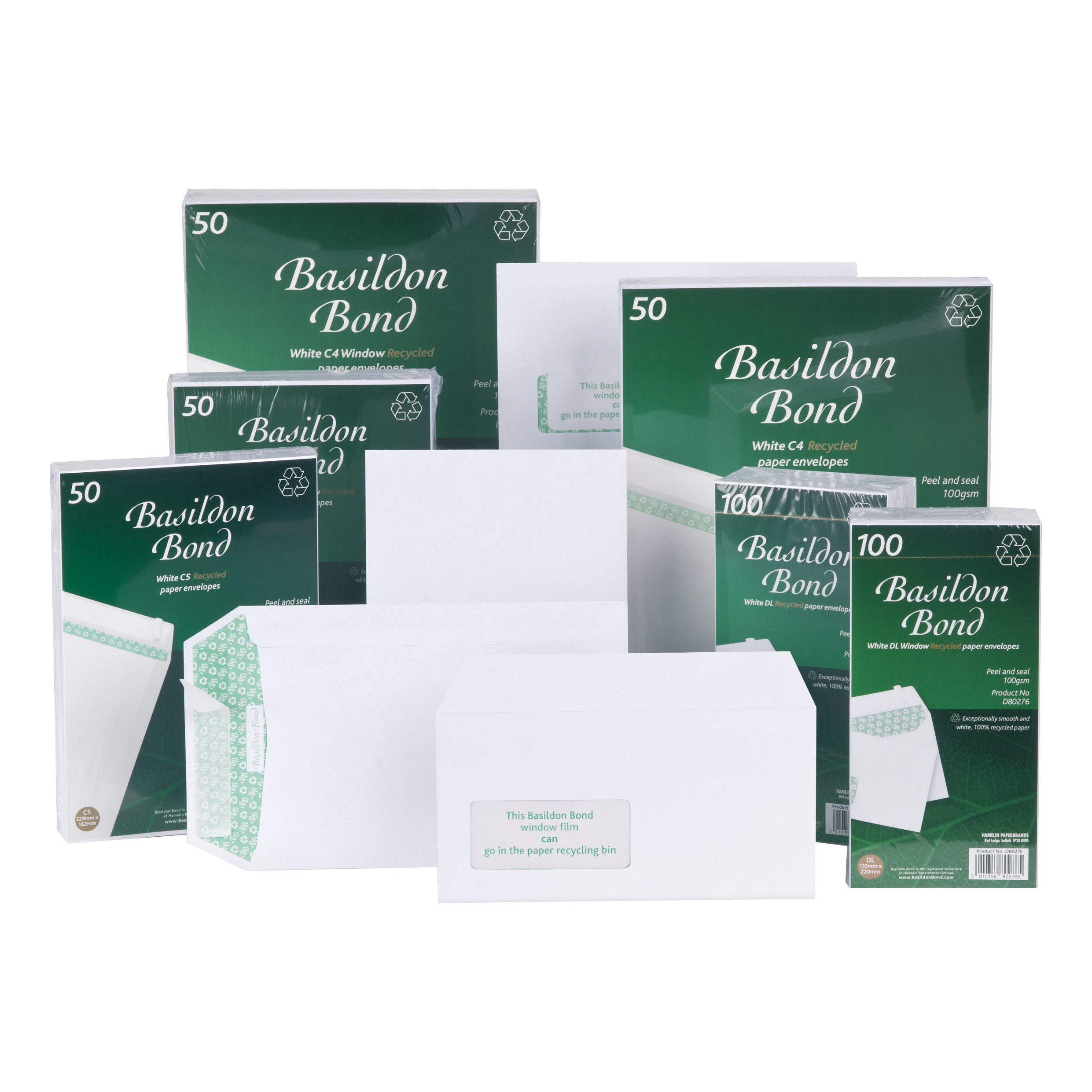 Standard envelopes Basildon Bond Envelopes FSC Recycled Wallet Peel & Seal 120gsm DL 220x110mm White Ref F80275 Pack 100
