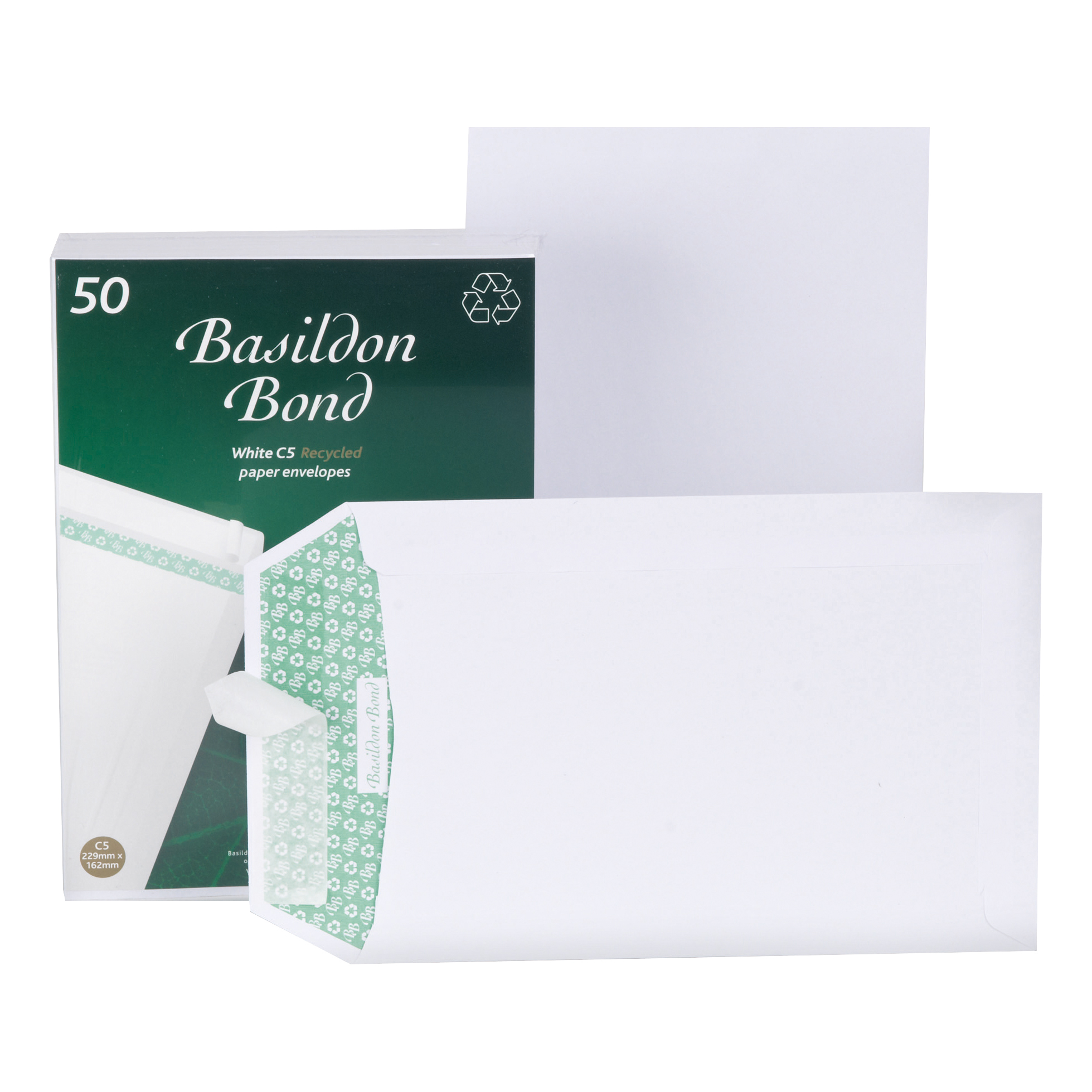 Basildon Bond Envelopes FSC Pocket Recycled Peel & Seal 120gsm C5 229x162mm White Ref B80277 Pack 50