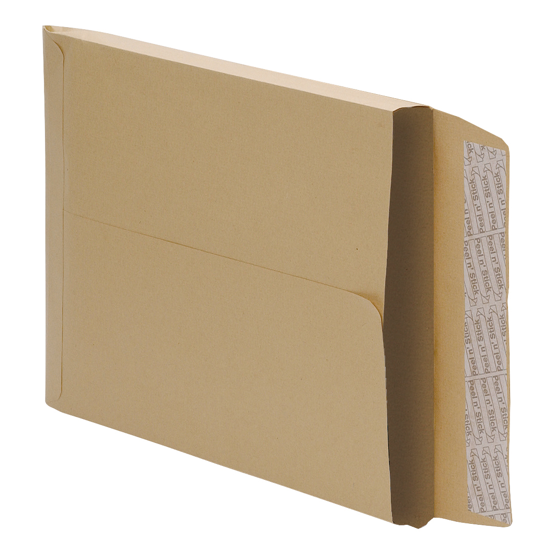 5 Star Office Envelopes 381x254mm Gusset 25mm Peel and Seal 115gsm Manilla Pack 125