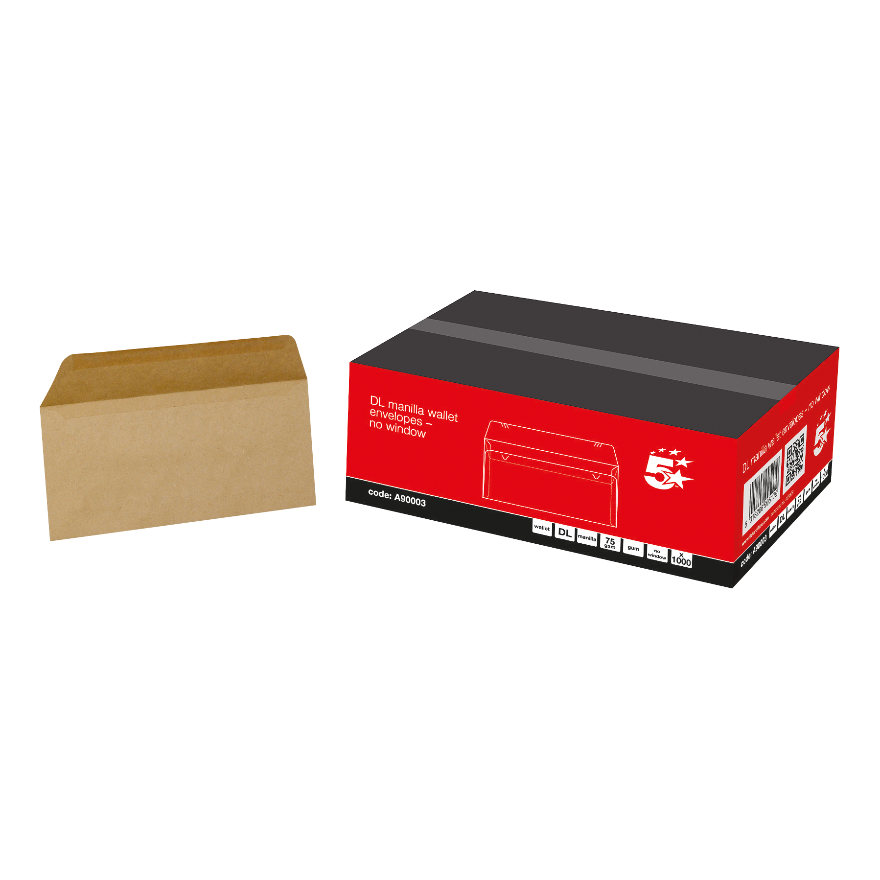 5 Star Office Envelopes FSC Wallet Recycled Lightweight Gummed 75gsm DL 220x110mm Manilla Pack 1000