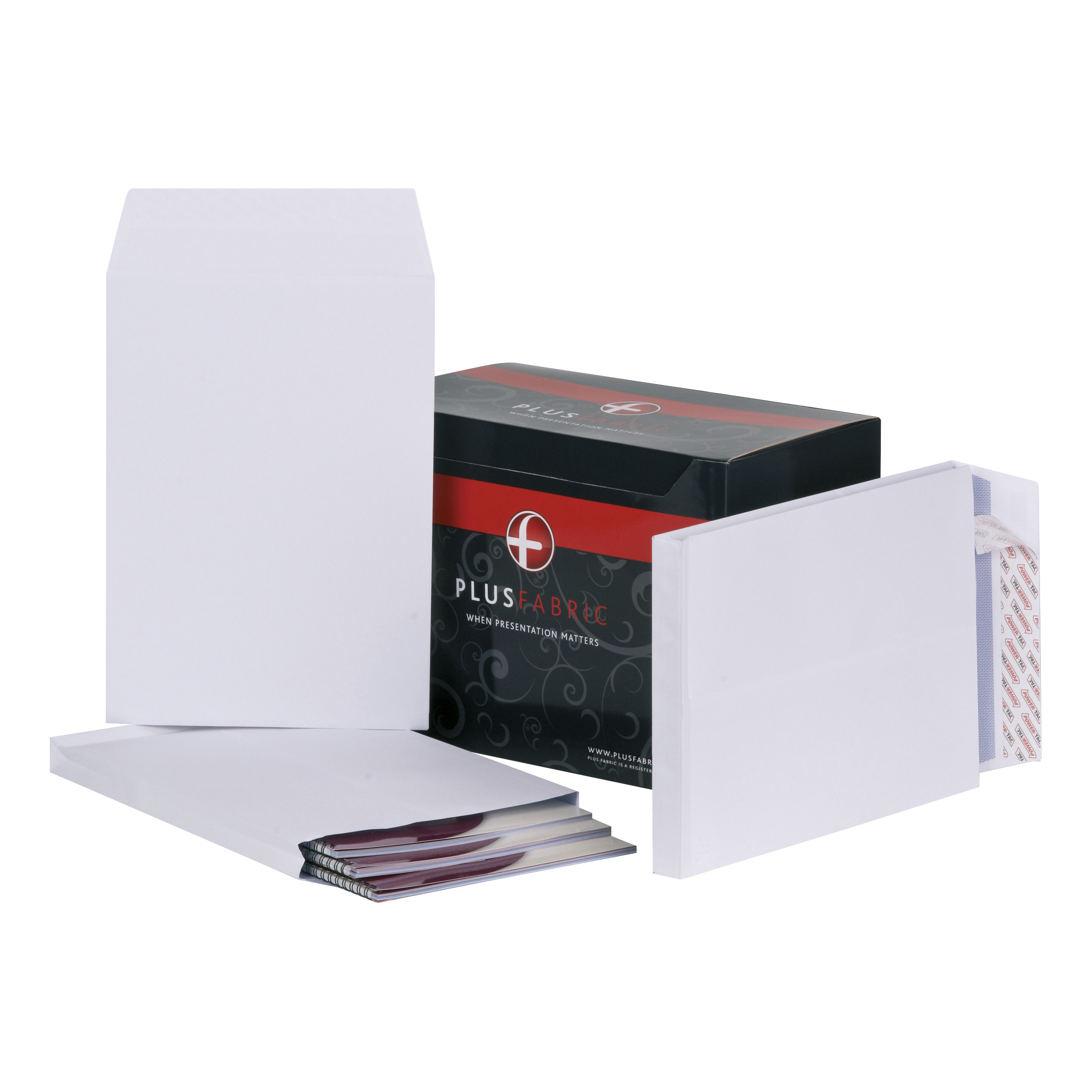 Plus Fabric Envelopes PEFC Peel & Seal Gusset 120gsm C4 324x229x25mm White Ref C26766 Pack 100
