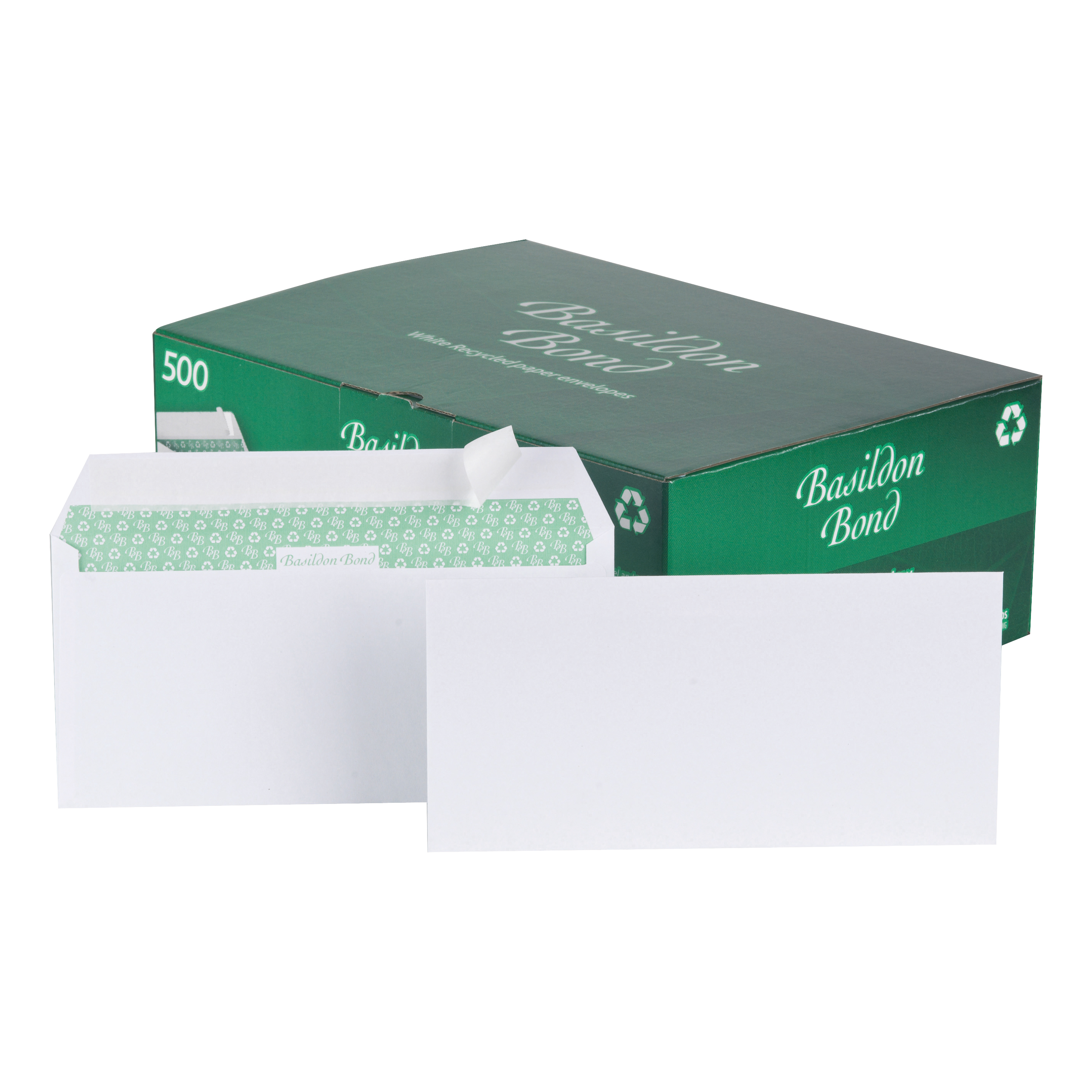 DL Basildon Bond Envelopes Recycled Wallet Peel & Seal 120gsm DL White Ref C80116 Pack 500