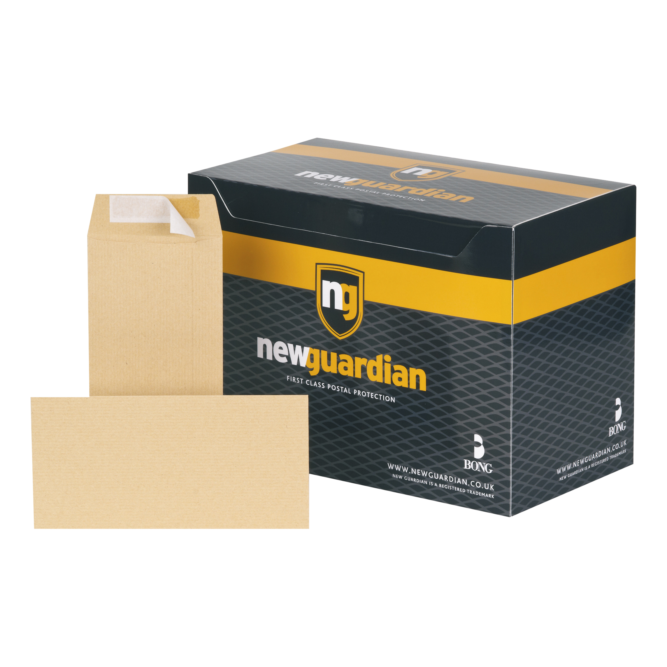 New Guardian Envelopes Heavyweight Pocket Peel & Seal 130gsm DL 220x110mm Manilla Ref E26503 Pack 500