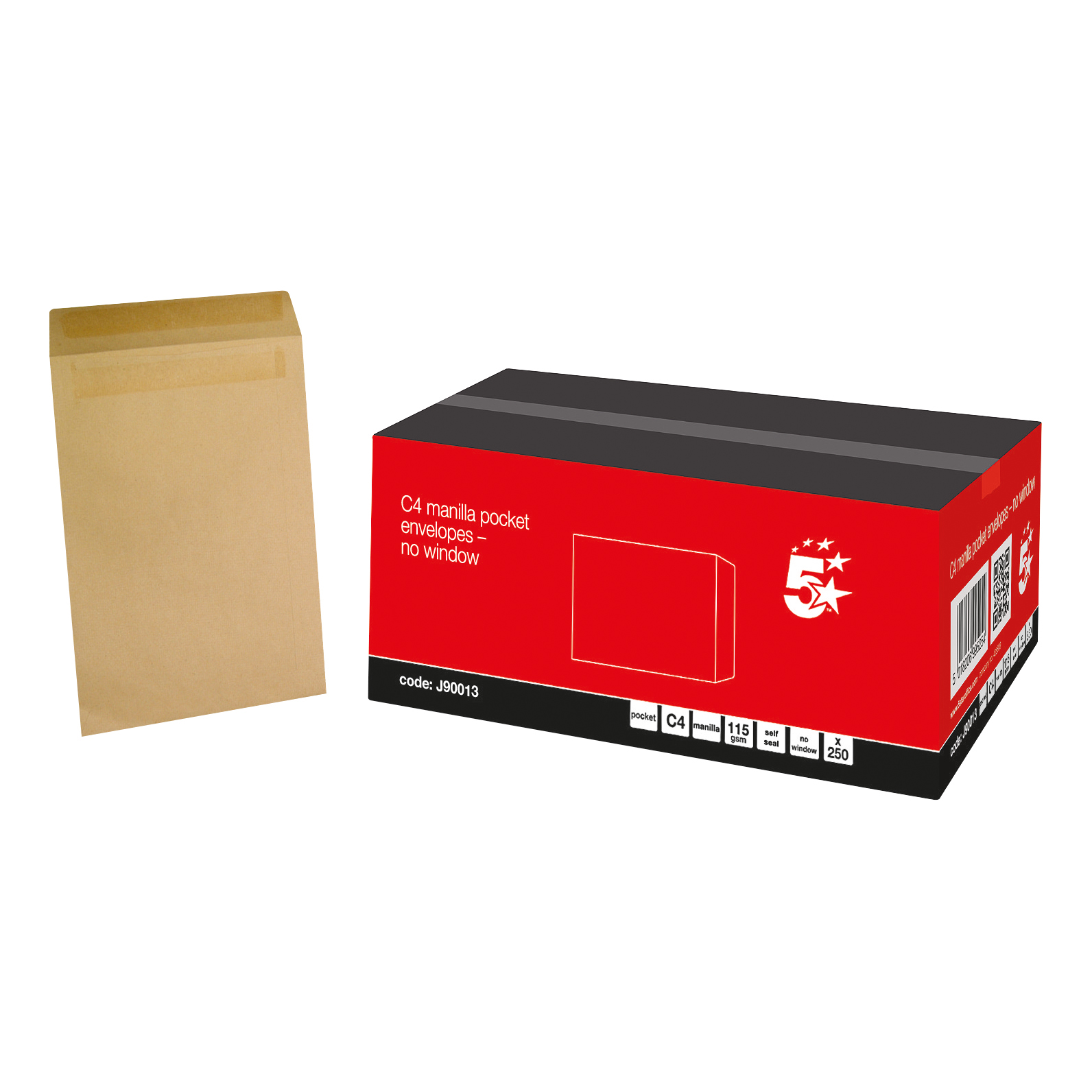 5 Star Office Envelopes FSC Pocket Self Seal 115gsm C4 324x229mm Manilla Pack 250