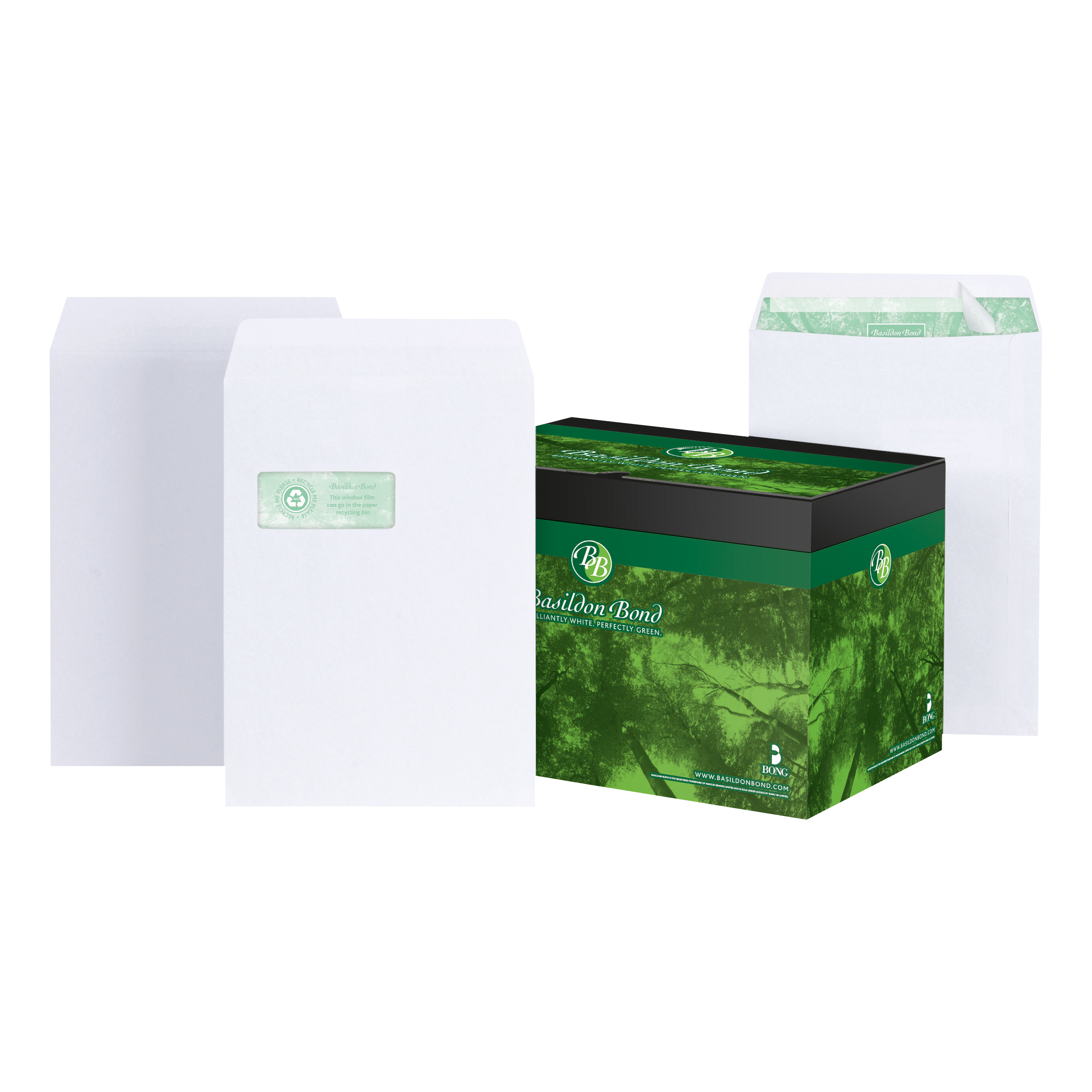 C4 Basildon Bond Envelopes FSC Recycled Pocket Peel &Seal 120gsm C4 White Ref M80120 Pack 250