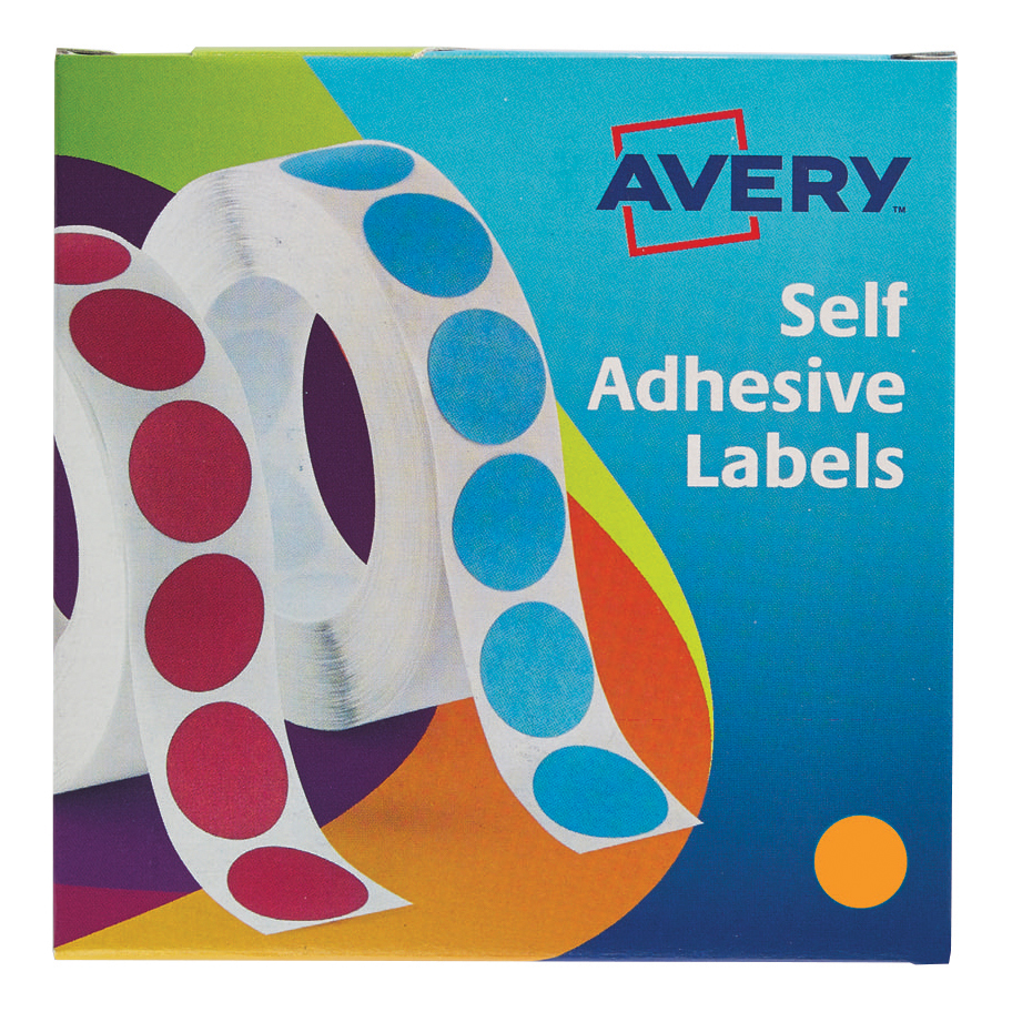 Avery Labels in Dispenser on Roll Round Diam.19mm Orange Ref 24-608 1120 Labels