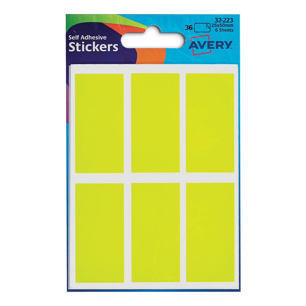 Coloured Labels Avery Packets of Labels Rectangular 50x25mm Neon Yellow Ref 32-223 10x36 Labels