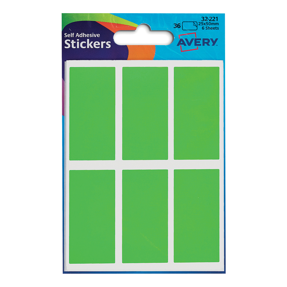Coloured Labels Avery Packets of Labels Rectangular 50x25mm Neon Green Ref 32-221 10x36 Labels