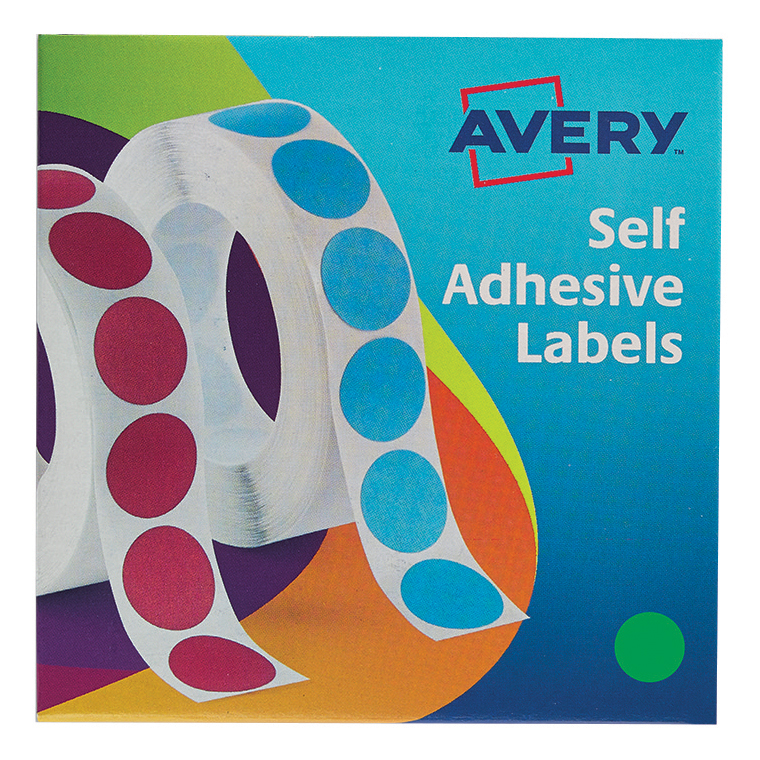 Avery Labels in Dispenser on Roll Round Diam.19mm Green Ref 24-507 1120 Labels