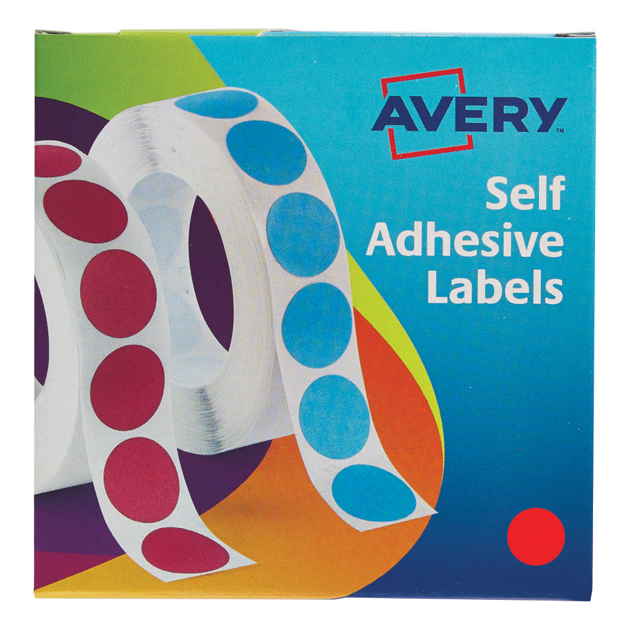 Avery Labels in Dispenser on Roll Round Diam.19mm Red Ref 24-506 [1120 Labels]