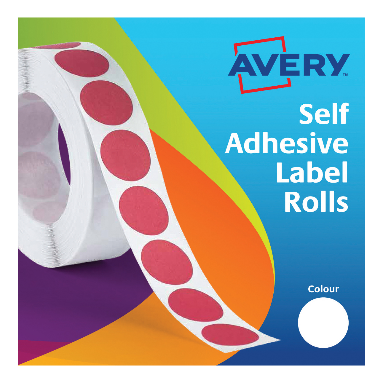 Coloured Labels Avery Labels in Dispenser on Roll Round Diam.19mm White Ref 24-404 1400 Labels
