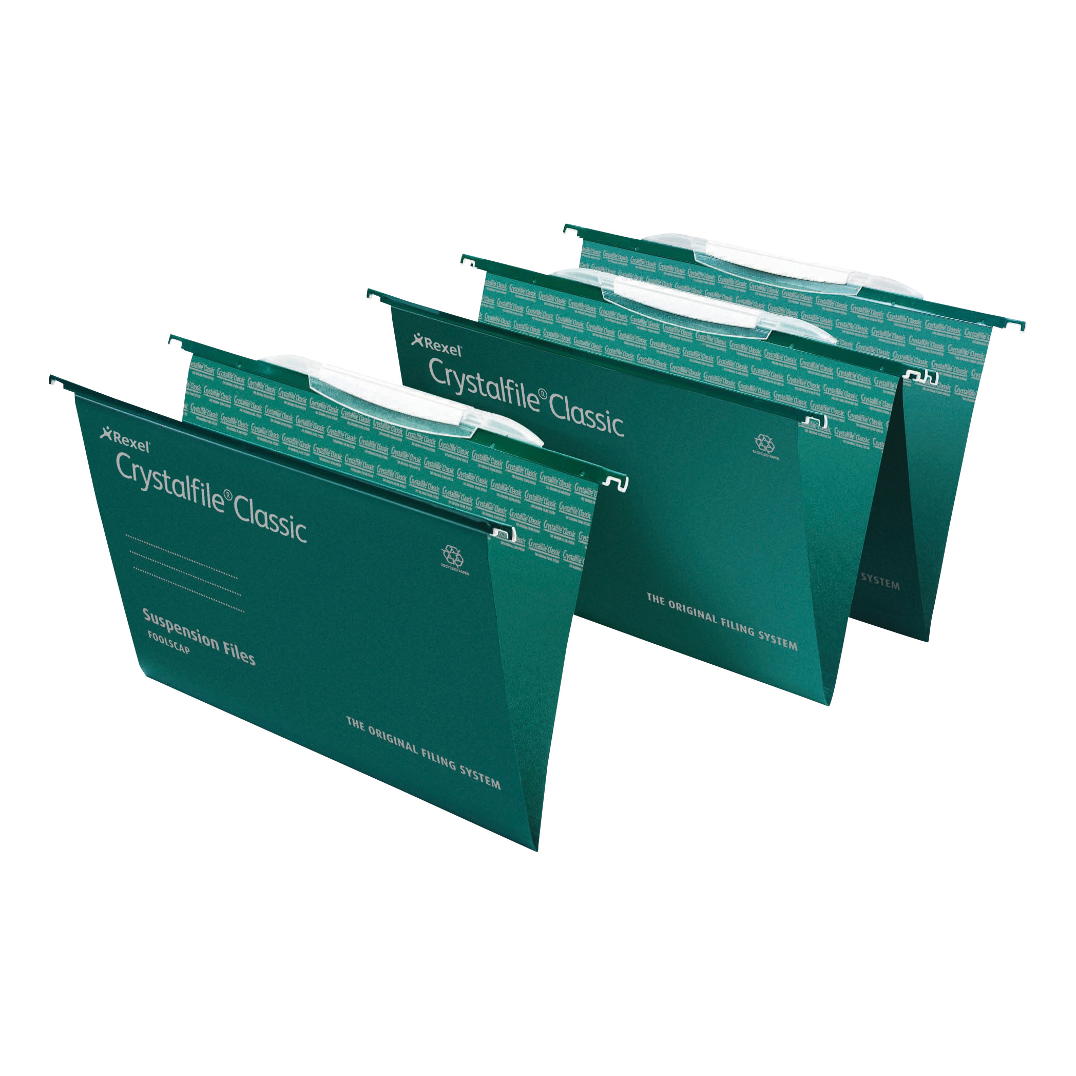 Suspension File Rexel Crystalfile Classic Linking Suspension File 15mm V-base 230gsm Foolscap Green Ref 3000030 Pack 50