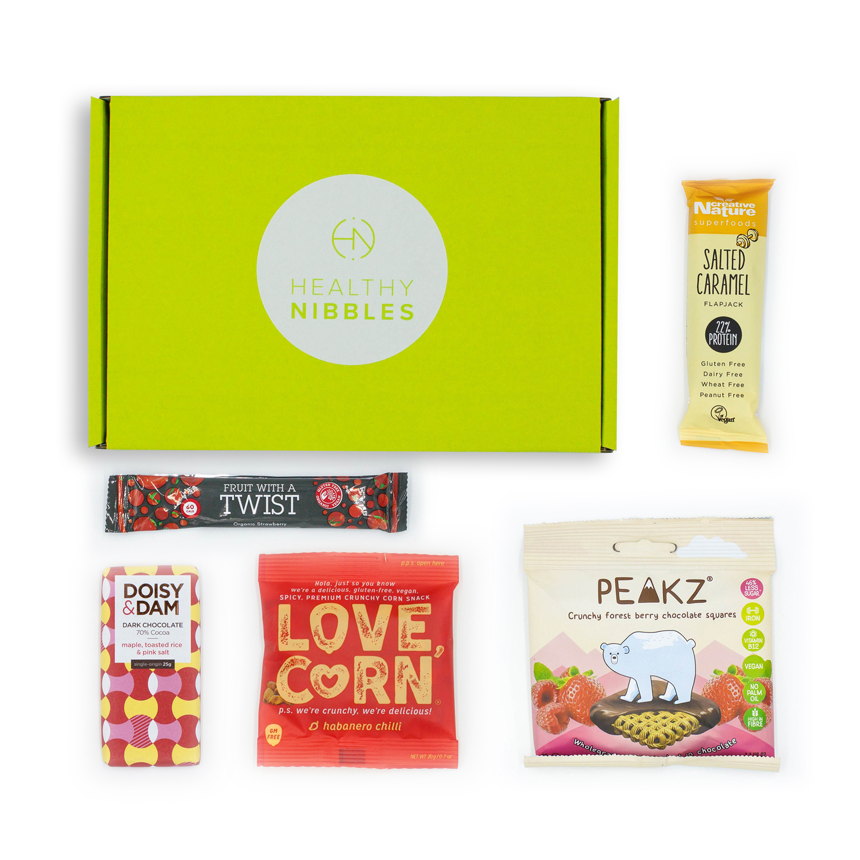 Natural sugars or sweetening products Healthy Nibbles Vegan Snack 5 Piece Mini Box Ref Vegan5 *Up to 2-3 Day Leadtime*