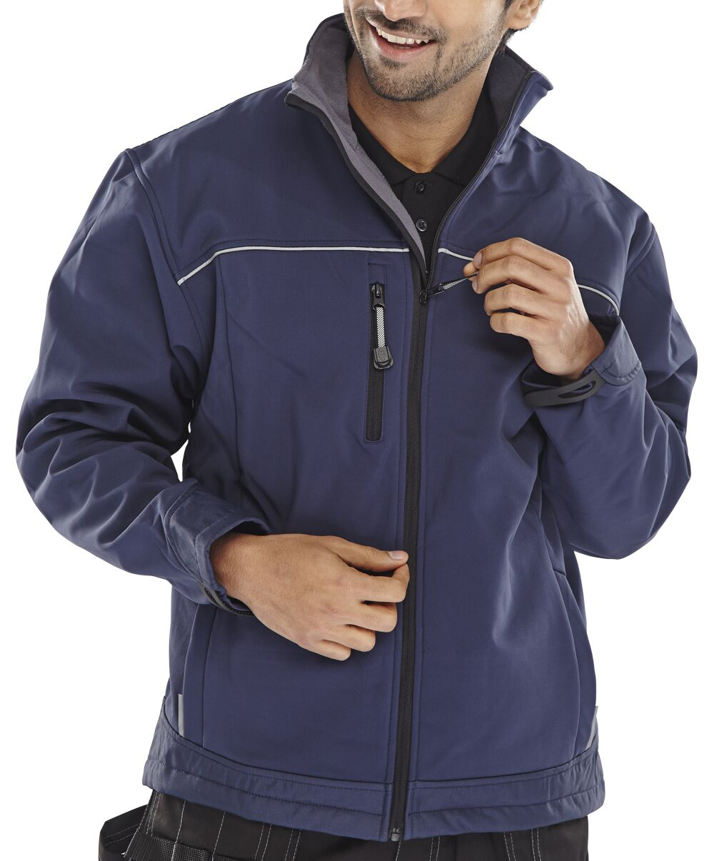 Click Workwear Soft Shell Jacket Water Resistant Windproof Large Navy Ref SSJNL *Approx 3 Day Leadtime*