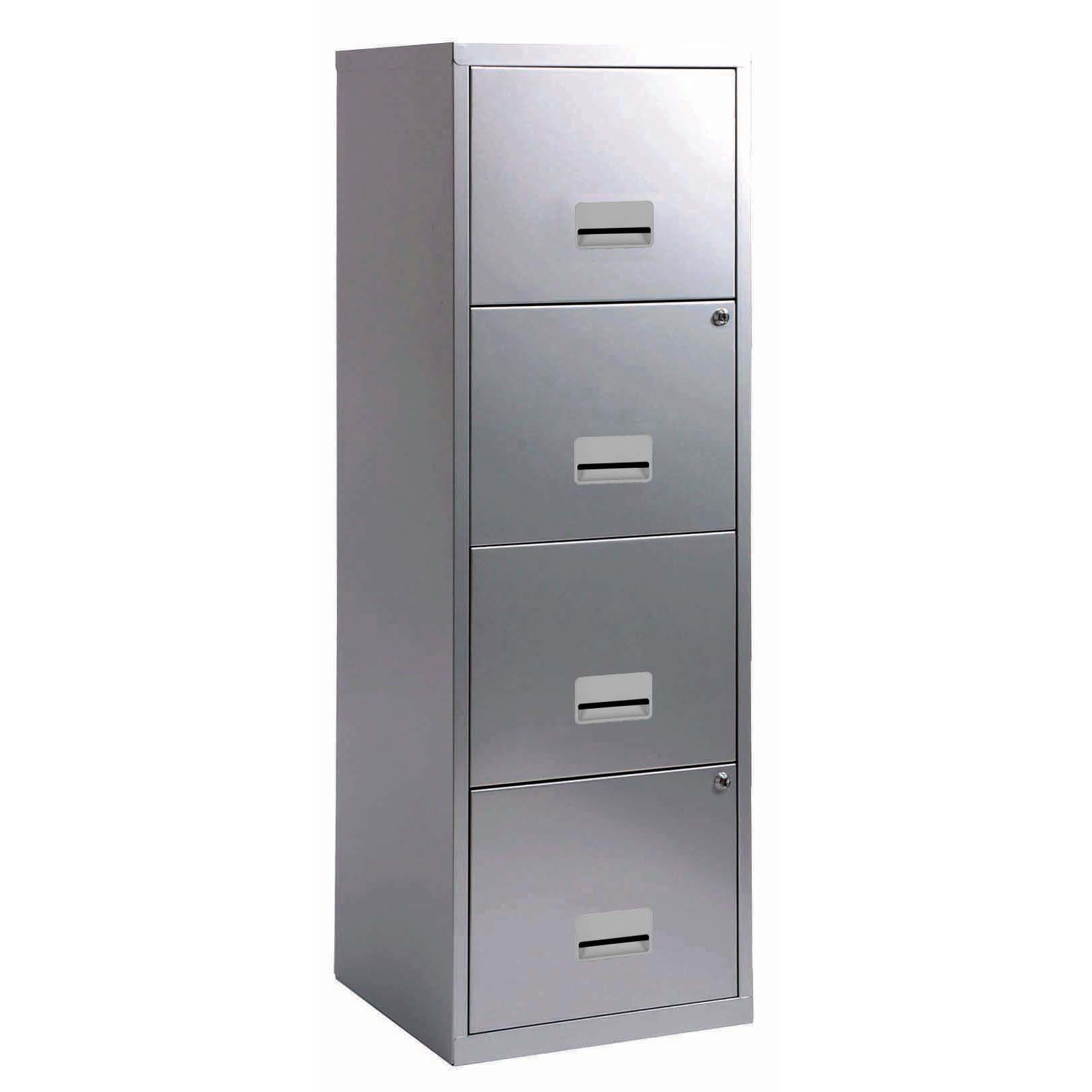 Filing cabinets or accesories Pierre Henry Filing Cabinet Steel 4 Drawer A4 400x400x1250mm Silver Ref 595044
