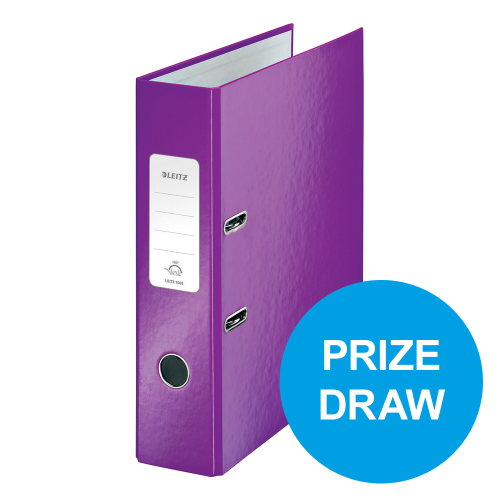 Leitz WOW Lever Arch File 80mm Spine for 600 Shts A4 Purple Ref 10050062 Pack 10 REDEMPTION Oct-Dec19