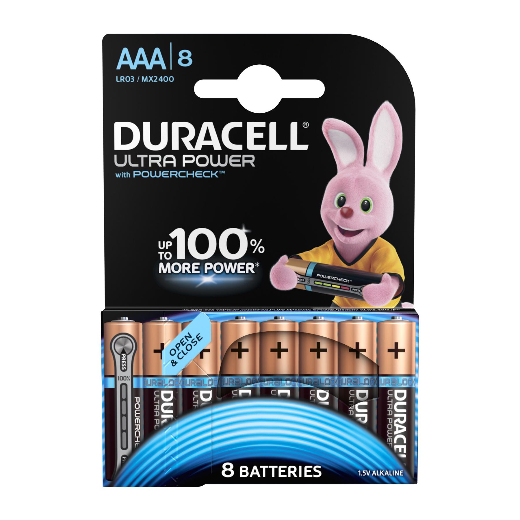 Duracell Ultra Power MX2400 Battery Alkaline 1.5V AAA Ref 81235515 [Pack 8] [2 for 1] Dec 2019