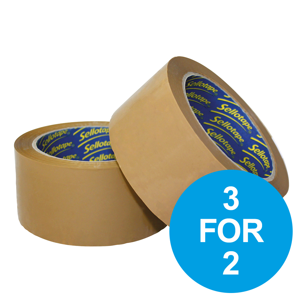 Sellotape Vinyl Packaging Tape Case Seal 50mmx66m Buff Ref 1447026 [Pack 6] [3 for 2] Oct-Dec 19