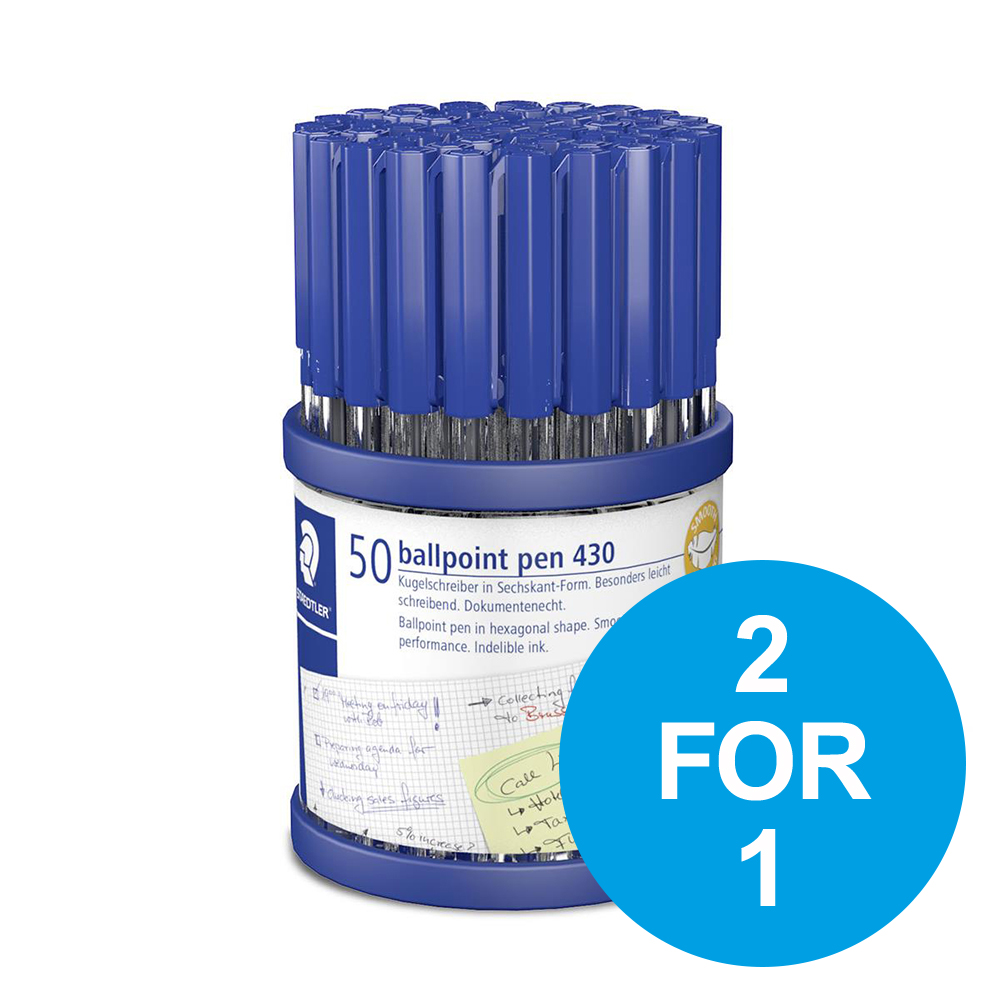 Staedtler Stick 430 Ball Pen 1.0mm Tip 0.35mm Line Blu Ref 430M3CP50TH [Pack 50] [2 for 1] Oct-Dec 2019