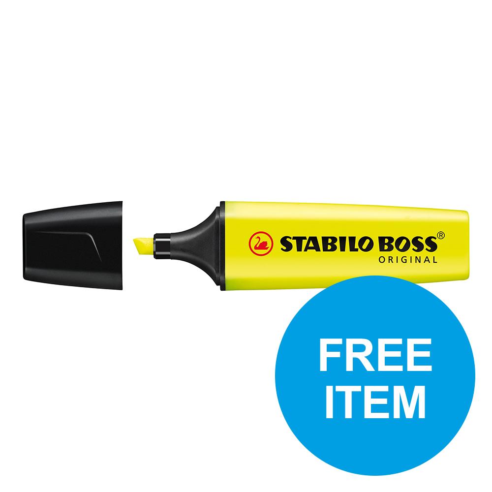 Stabilo Boss HLers Chisel 2-5mm Ylw Ref 70/24/10 [Pack 10] [x2 & FREE 88 Fineliner Pk 10] Oct-Dec 2019