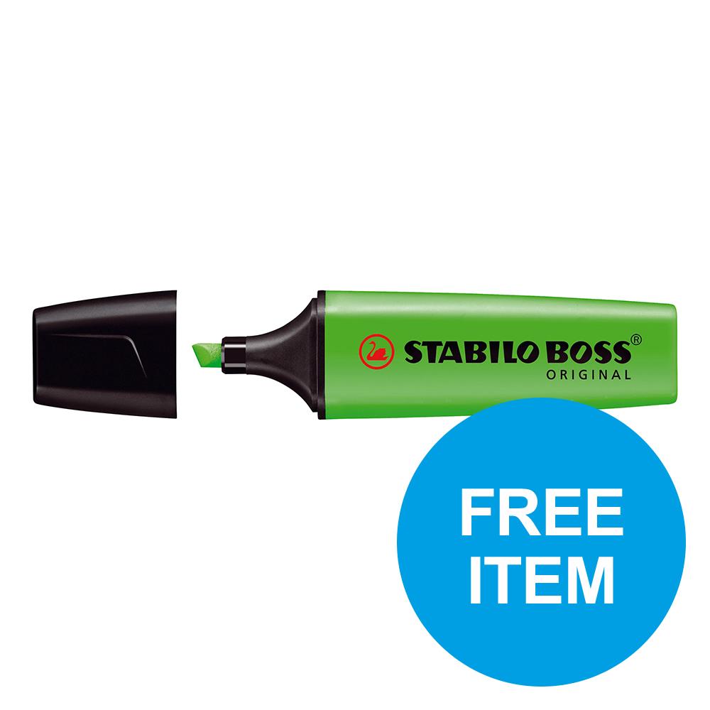 Stabilo Boss HLers Chisel 2-5mm Grn Ref 70/33/10 [Pack 10] [x2 & FREE 88 Fineliner Pk 10] Oct-Dec 2019