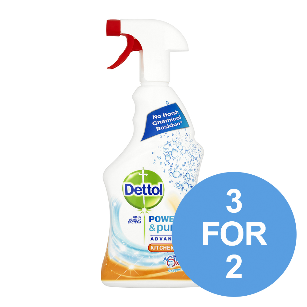 Dettol Power & Pure Kitchen Cleaner Spray 750ml Ref RB788776 [3 for 2] Oct 2019