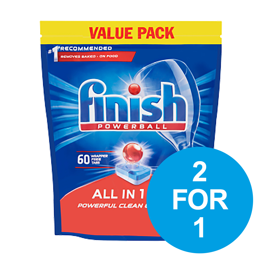 Finish Dishwasher Powerball Tablets All-in-1 Ref Lemon RB797723 Pack 60 2 for 1 Oct-Dec 2019