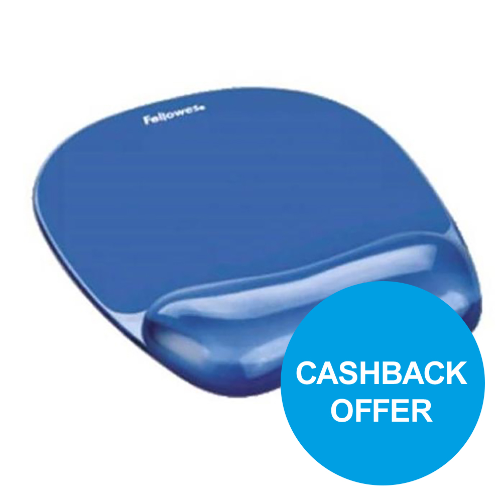 Fellowes Crystal Mouse Mat Pad with Wrist Rest Gel Blue Ref 91141