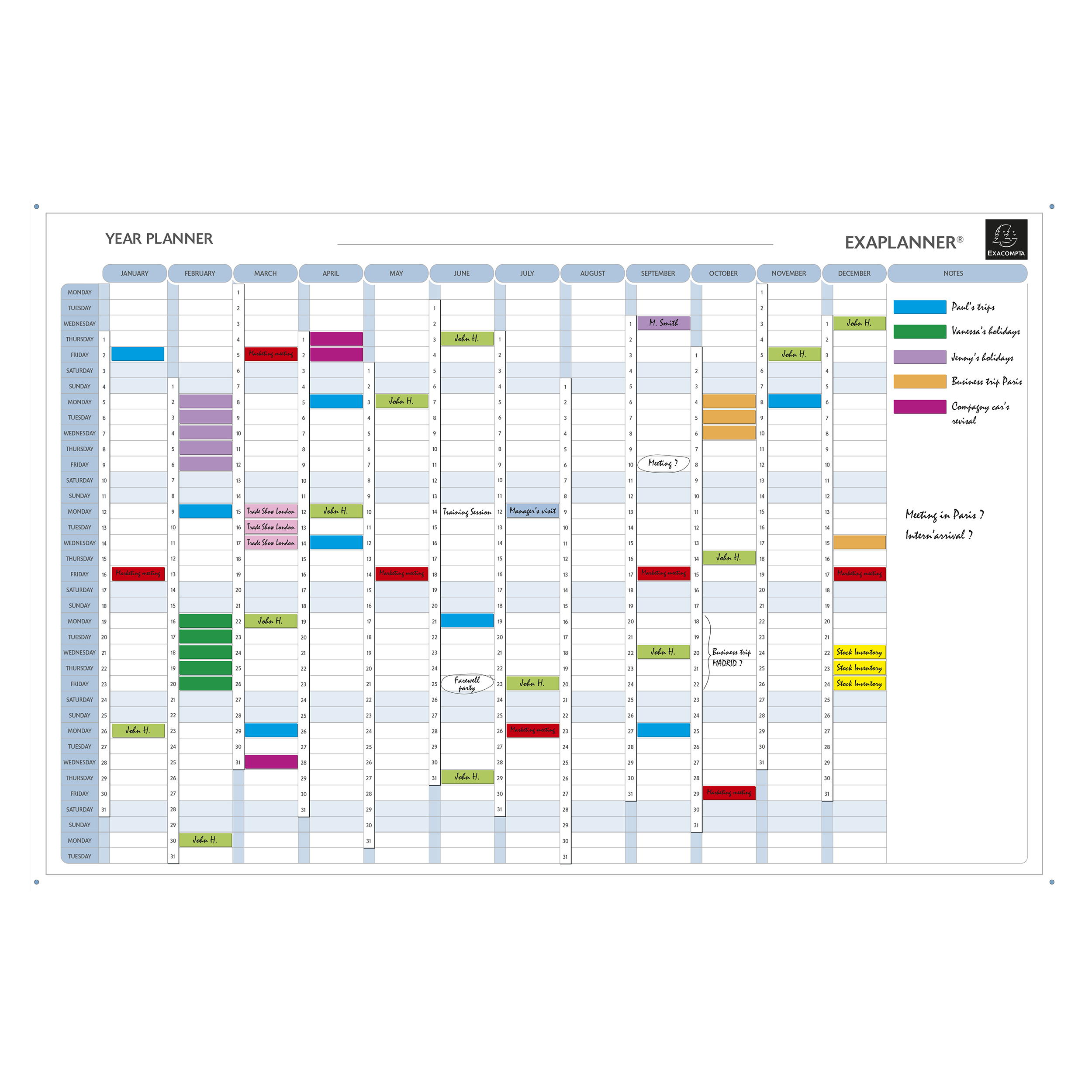 Wall planners Exacompta Perpetual Magnetic Yearly Planner 900x50x590mm Ref 56153E