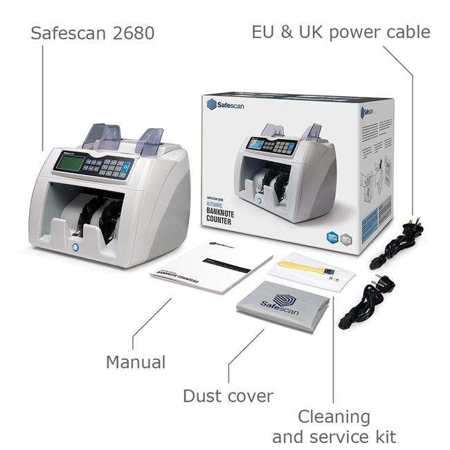 Safescan 2680-S GBP Banknote Counter and Counterfeit Detector L262xW264xH248mm Grey Ref 112-0510