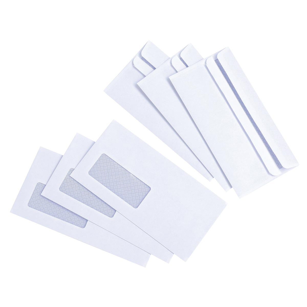 5 Star Value Envelopes Wallet Press Seal Window 80gsm DL 110x220mm White Pack 1000