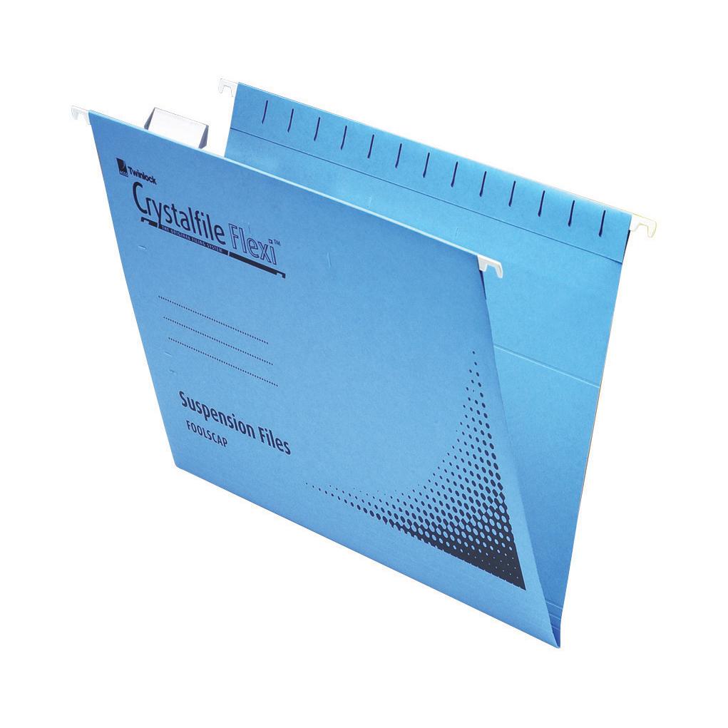 Rexel Crystalfile Flexifile Suspension File 15mm V-base 225gsm Foolscap Blue Ref 3000041 Pack 50