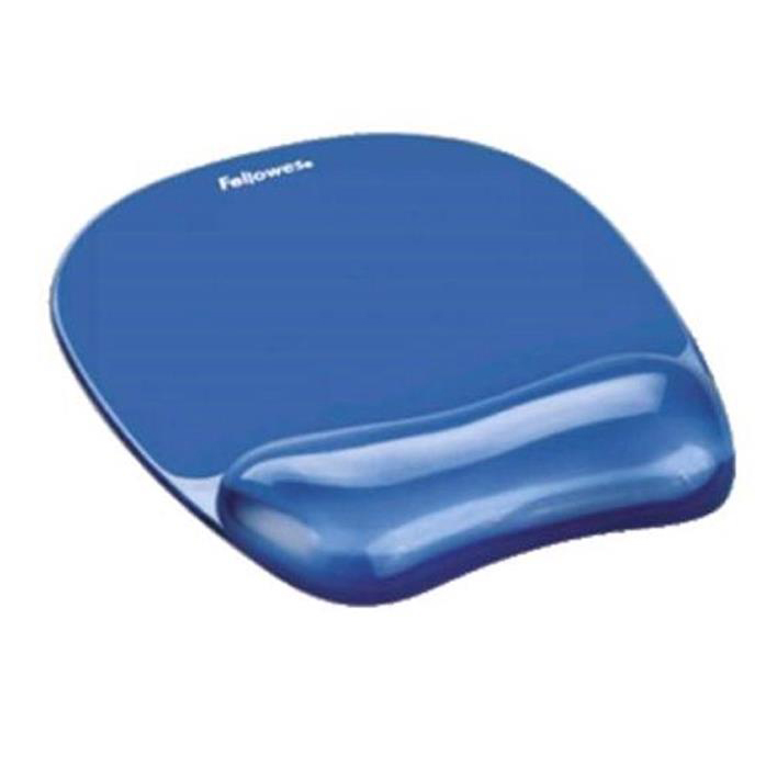 Mouse Mats Fellowes Crystal Mouse Mat Pad with Wrist Rest Gel Blue Ref 91141