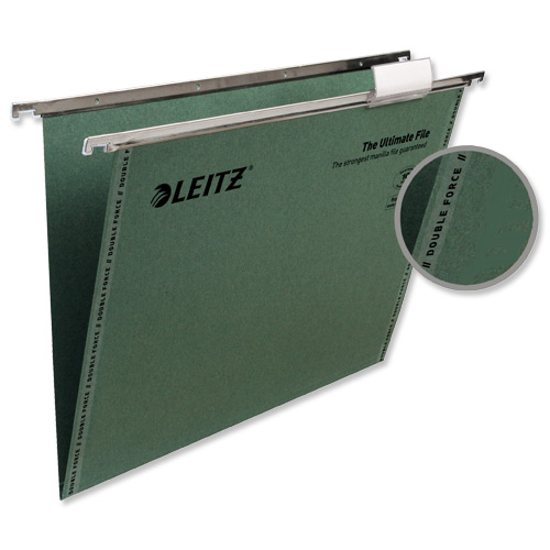Leitz Ultimate Suspension File Recycled Manilla 15mm V-base 215gsm Foolscap Green Ref 17440055 [Pack 50]