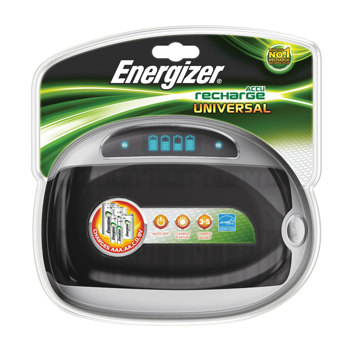 Energizer Universal Battery Charger CHEUF with Smart LED 2-5Hrs Time for AAA AA C D 9V Ref 629874