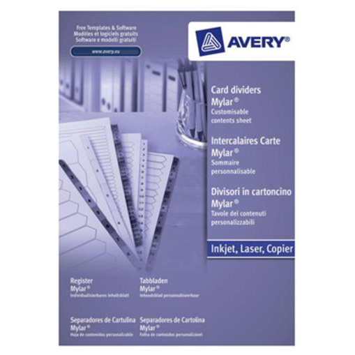 Avery Index Mylar 1-15 Punched Mylar-reinforced Tabs 150gsm A4 White Ref 05463061