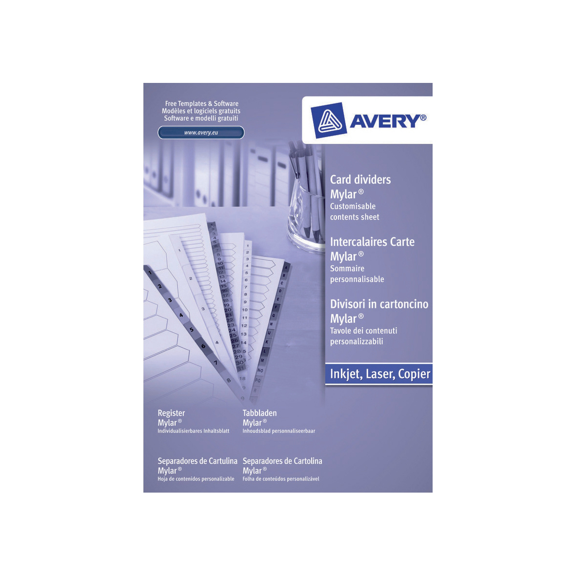 Avery Index Mylar 1-50 Punched Mylar-reinforced Tabs 150gsm A4 White Ref 05226061