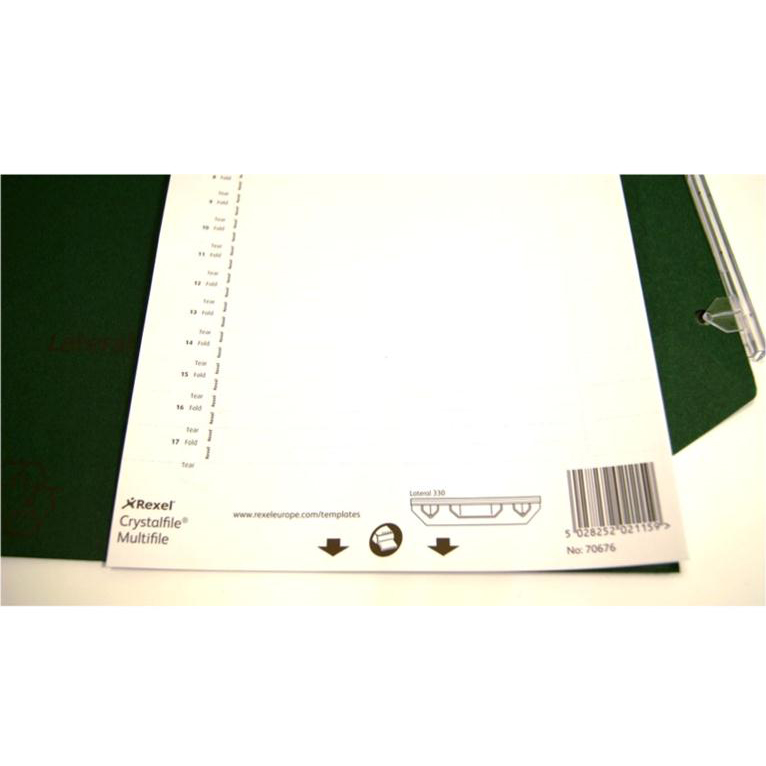 Rexel Crystalfile Classic Card Inserts for Lateral Suspension File Tabs White Ref 70676 Labels 34
