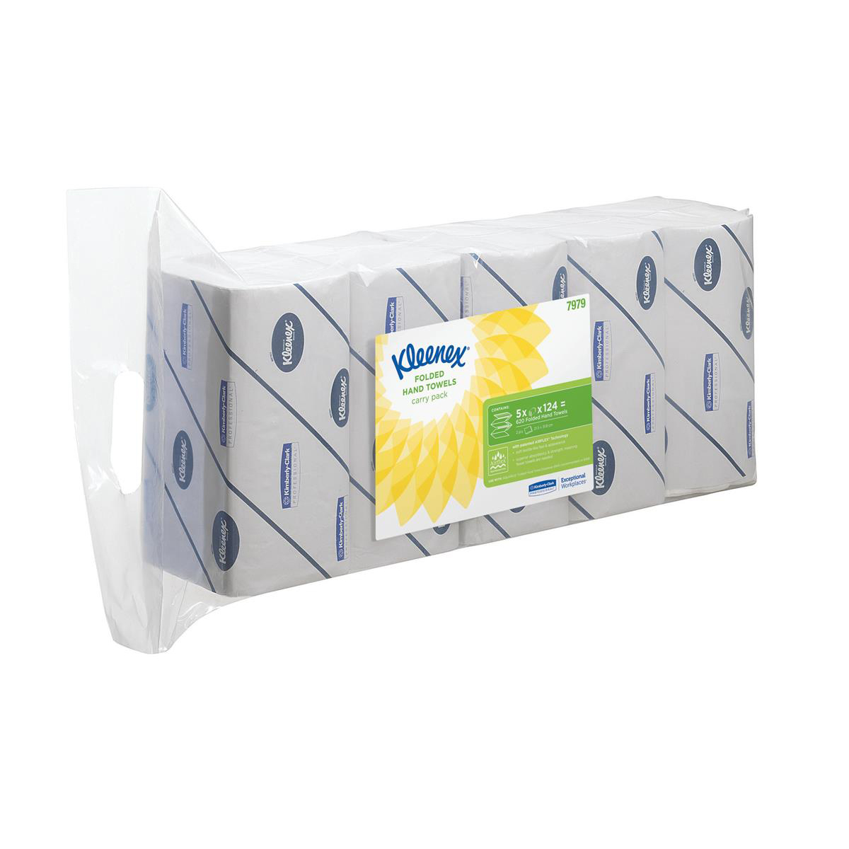 Kleenex Ultra Hand Towels 2-ply 215x315mm 124 Towels per Sleeve White Ref 7979 Pack 5