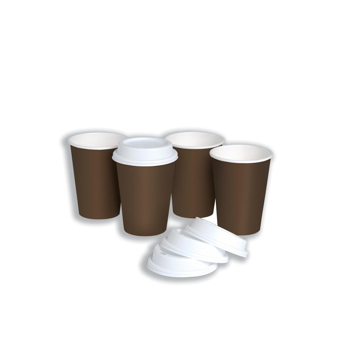 Disposable Cups & Accessories Hot Drink Cup Single Walled & Drink Through Lid Combi Pack 10oz 296ml Ref 0511093 Pack 50