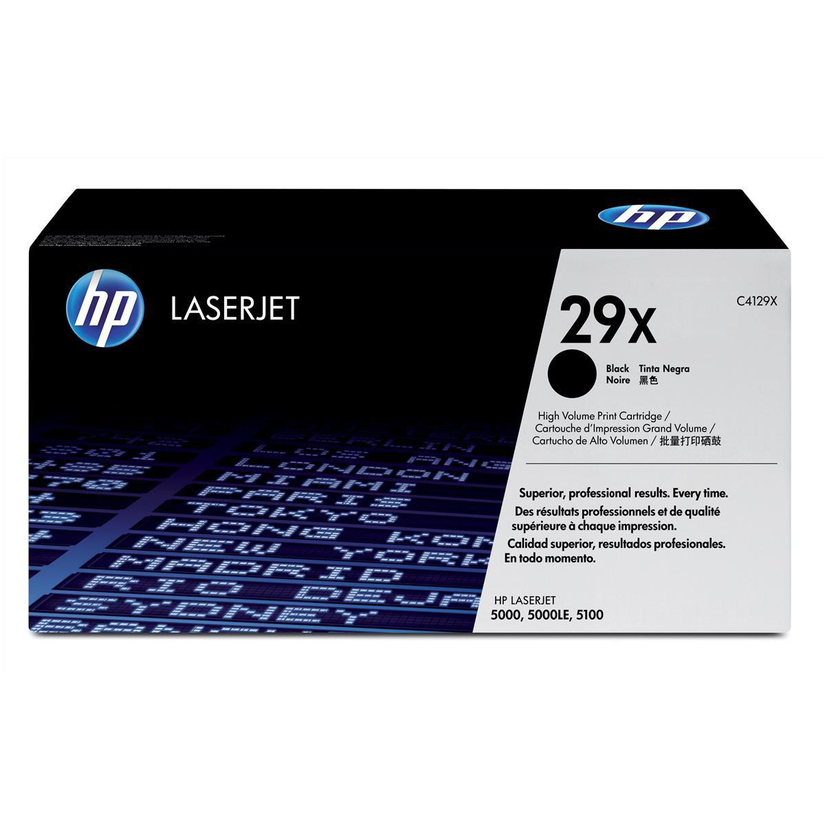 HP 29X Laser Toner Cartridge High Yield Page Life 10000pp Black Ref C4129X