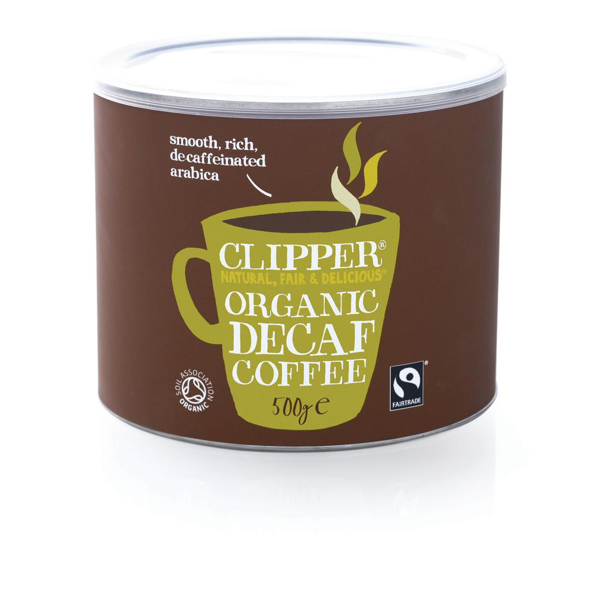 Clipper Fairtrade Instant Decaffeinated Coffee Organic Granules Freeze Dried Tin 500g Ref 0403274
