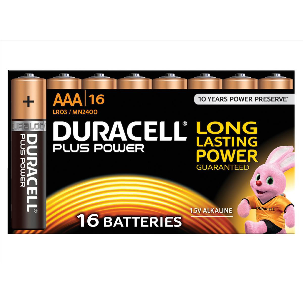 Duracell Plus Power Battery Alkaline 1.5V AAA Ref 81275409 Pack 16