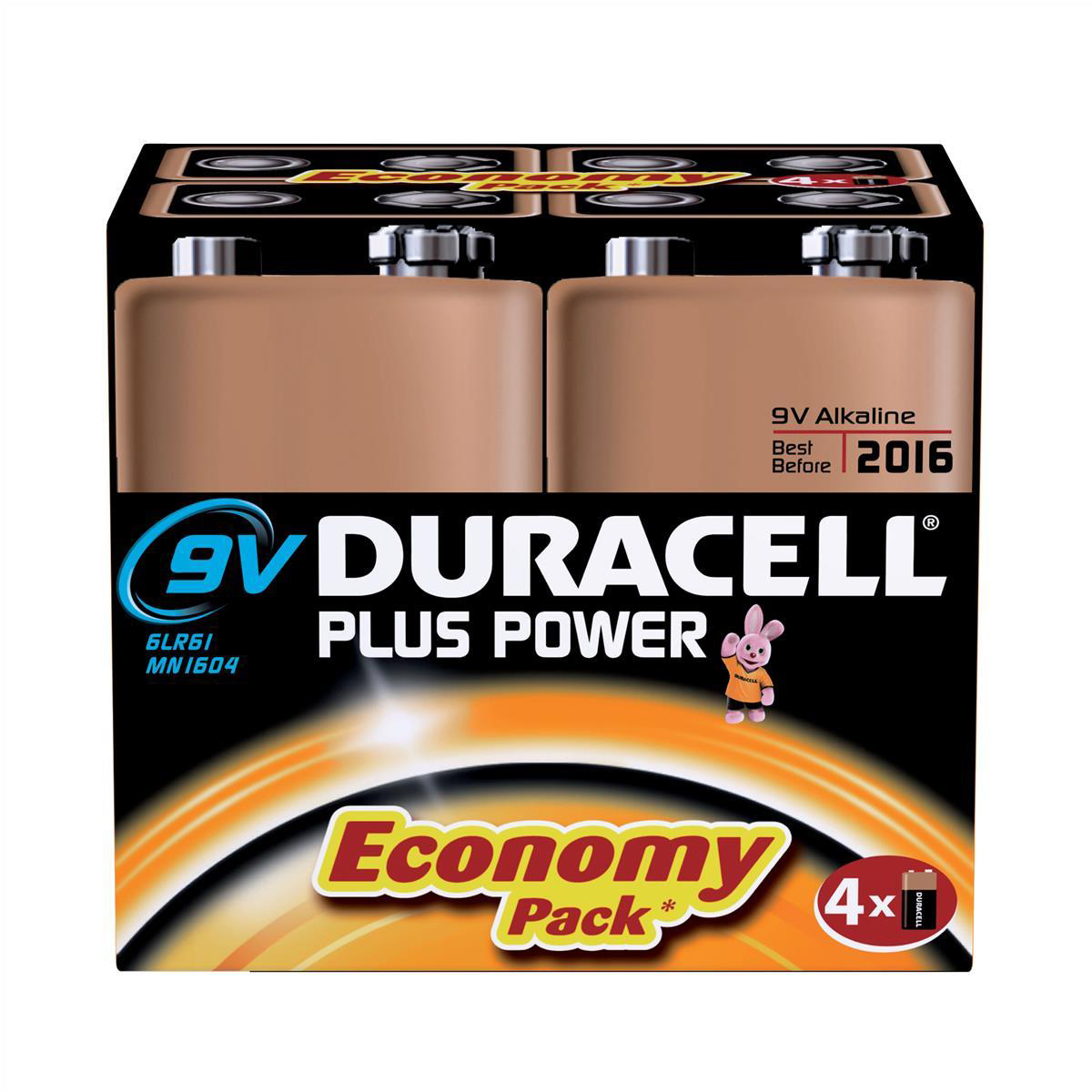 Duracell Plus Power Battery Alkaline 9V Ref 81275463 Pack 4