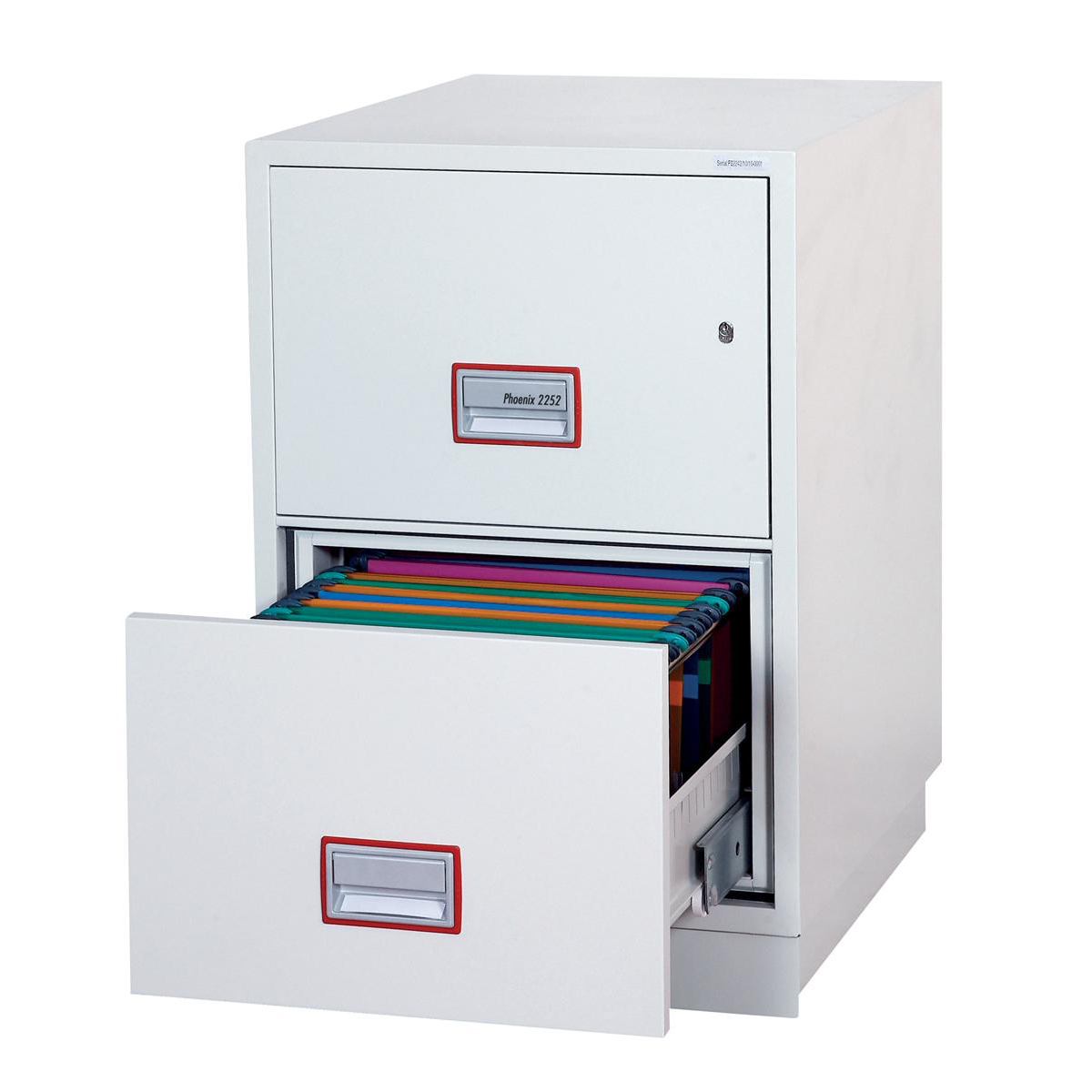 Safes Phoenix Firefile Filing Cabinet Fire Resistant 2 Lockable Drawers 140Kg W525xD675xH720mm Ref FS2252K