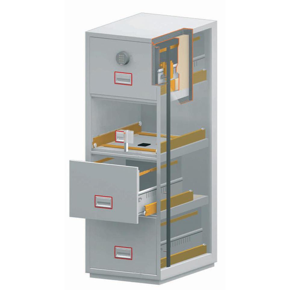 Phoenix Firefile Filing Cabinet Fire Resistant 4 Lockable Drawers 230Kg W530xD675xH1405mm Ref FS2254K